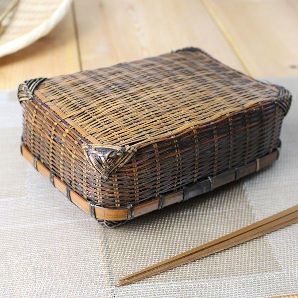 染めゴザ目二重編み弁当箱/竹のランチボックス/通気性/蒸れにくい/ピクニック/おにぎり/サンドウィッチ
