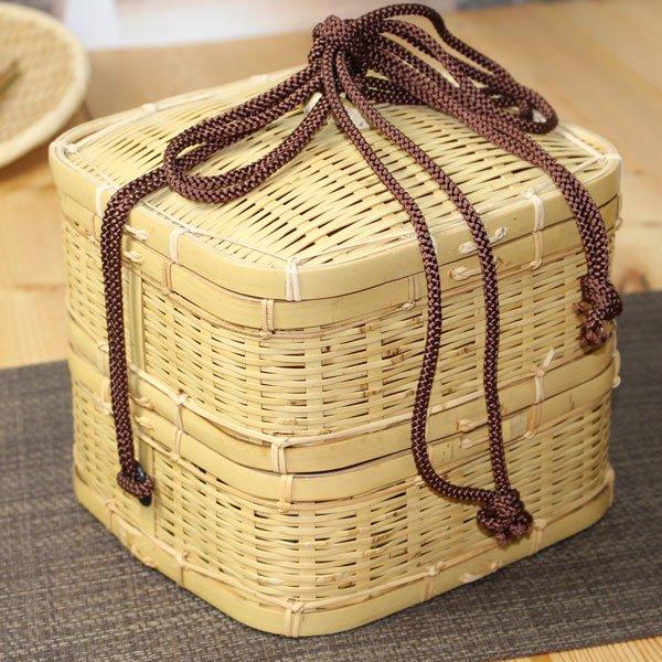 白竹ゴザ目二段弁当箱(大)/ピクニックバスケット/サンドイッチやおにぎり・通気性良好蒸れにくい/在庫無い場合納期をお知らせ