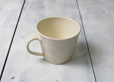 おしゃれな「コーヒーマグ/モーニングカップ<simple1>白・ホワイトマット調」小さめマグカップ/作家物