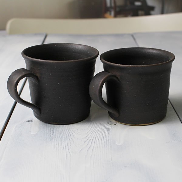 2点セット「小さめコーヒーマグ/モーニングカップ<simple2>黒/ブラック」お揃いのかわいいペアーのコップ