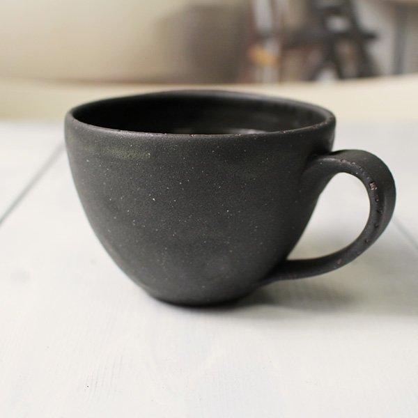 おしゃれな丸いフォルムのコーヒーカップ/モーニングカップ<simple3>丸型 黒 マットブラック/