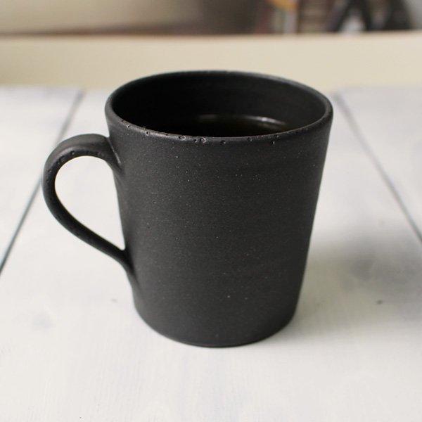 おしゃれな作家物のコーヒーカップ/モーニングカップ<simple4>長方形型人気カラー黒 マットブラック/