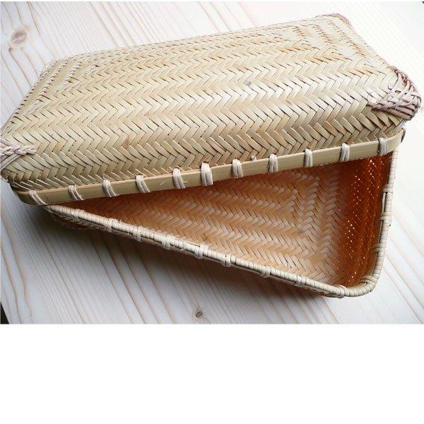 白竹アジロ角長弁当箱 おにぎりピクニックバスケット/タップリ収納 ランチボックス