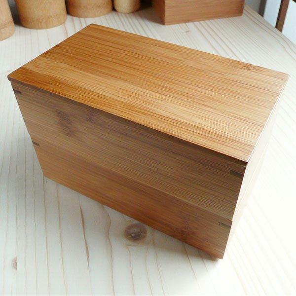 【販売終了】スス竹角長二段弁当箱 赤塗り/重箱 お節料理