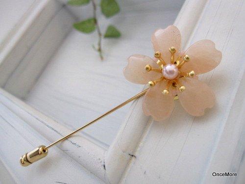 桜の花のハットピン(ピーチクォーツ-B)