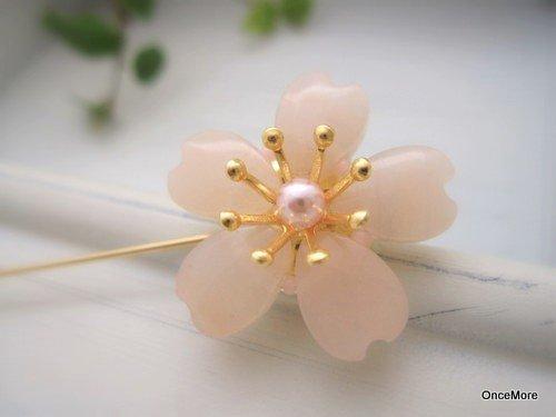 桜の花のハットピン(ピーチクォーツ-C)