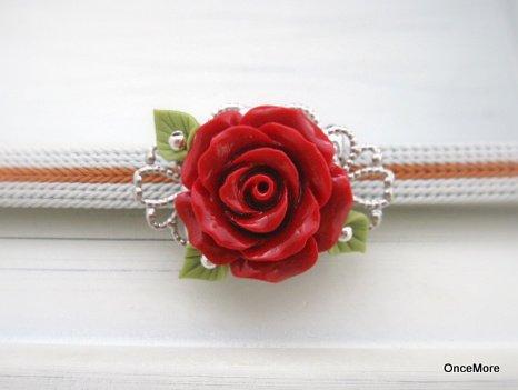 赤い薔薇の帯留め(B)