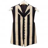【50%OFF】REVERBERATE リバーバレイト Object Stripe Waist Coat ベスト ブラック