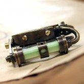 電氣エンドルフィン スチームパンク 実験装置 リング 1806 蓄光 夜光 グリーン ネックレス チェーン付き