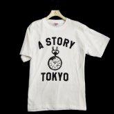A STORY オリジナル Tシャツ 時計 ロゴ 懐中時計 メンズ ホワイト