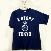 A STORY オリジナル Tシャツ 時計 ロゴ 懐中時計 メンズ ネイビー
