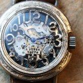【新作】自動巻き スケルトン 機械式腕時計 float see through ナイトブルー シルバー925