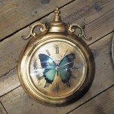 青い蝶(オオルリアゲハ)の掛け時計 アンティーク クロック リプロダクト