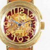 自動巻式 スケルトン 機械式腕時計 float see through レッド 真鍮 オートマ