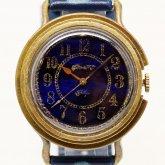 GENSO 夜明け プルシャンブルー アラビア数字文字盤 青い腕時計