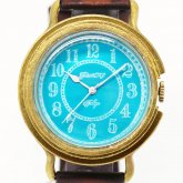 GENSO コバルトターコイズ アラビア数字文字盤 青い文字盤に白い針の腕時計