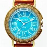 GENSO コバルトターコイズ ローマ数字文字盤 青い文字盤に白い針の腕時計