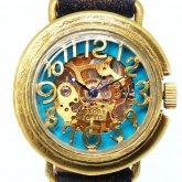 【新作】自動巻式 スケルトン 機械式腕時計 float see through ターコイズブルー 真鍮 オートマ