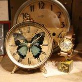 青い蝶(オオルリアゲハ)の置き時計 アンティーク クロック リプロダクト