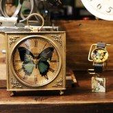 青い蝶(オオルリアゲハ)の置き時計 四角 アンティーク ゴシック スクエア クロック リプロダクト