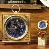 【蓄光】星空の置き時計 四角 天体観測 アンティーク スクエア ゴシック クロック リプロダクト