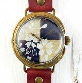 桜 市松模様の和風 腕時計 1点物