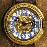 自動巻式 スケルトン 機械式腕時計 float see through 数字ターコーズブルー 文字盤ホワイト 真鍮 オートマ
