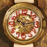 自動巻式 スケルトン 機械式腕時計 float see through 数字レッド 文字盤ホワイト 真鍮 オートマ