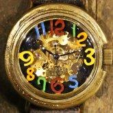 自動巻式 スケルトン 機械式腕時計 float see through 数字マルチカラー 文字盤ブラック 真鍮 オートマ