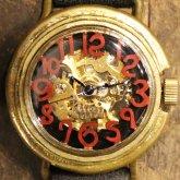 自動巻式 スケルトン 機械式腕時計 float see through 数字レッド 文字盤ブラック 真鍮 オートマ