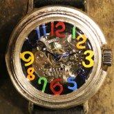 自動巻式 スケルトン 機械式腕時計 float see through 数字マルチカラー 文字盤ブラック シルバー925 オートマ