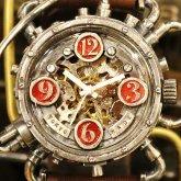自動巻式 スチームパンク機械式腕時計 クロノマシーン シルバー925 オートマ