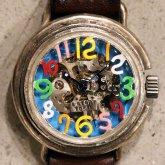 自動巻式 スケルトン 機械式腕時計 float シースルー 数字マルチカラー 文字盤ターコイズ シルバー925 オートマ