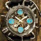 スチームパンク機械式腕時計 クロノマシーン シルバー925 ターコイズブルー 自動巻