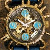 スチームパンク機械式腕時計 クロノマシーン 真鍮 ターコイズブルー 自動巻