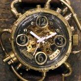 スチームパンク機械式腕時計 クロノマシーン 真鍮 ブラック 自動巻