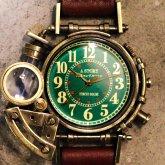 スチームパンク腕時計 電氣エンドルフィンxA STORY コラボウォッチ グリーンアラビア