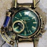 スチームパンク腕時計 電氣エンドルフィンxA STORY コラボウォッチ グリーン ローマ
