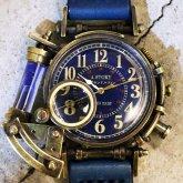 スチームパンク腕時計 電氣エンドルフィンxA STORY コラボウォッチ ブルー アラビア