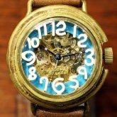 自動巻式 スケルトン 機械式腕時計 float see through 数字ホワイト 文字盤ターコイズ 真鍮 オートマ