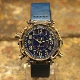 スチームパンク腕時計 電氣エンドルフィンxA STORY コラボウォッチ ブルー アラビア 1点モノ