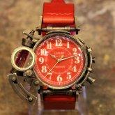 スチームパンク 腕時計 電氣エンドルフィン x A STORY コラボウォッチ レッド アラビア