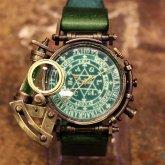 スチームパンク 腕時計 電氣エンドルフィン x A STORY コラボウォッチ グリーン 魔法陣