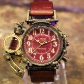スチームパンク 腕時計 電氣エンドルフィン x A STORY コラボウォッチ パープル アラビア数字 蓄光 文字盤