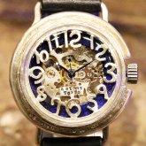 自動巻式 スケルトン 機械式腕時計 float シースルー プルシャンブルー シルバー 925