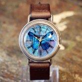 【受注】本物のモルフォ蝶の翅を文字盤にした銀製 腕時計 Lサイズ リアルモルフォ シルバー