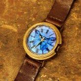 【在庫あり】モルフォ蝶の羽根文字盤 真鍮製 腕時計 リアルモルフォ ブラス