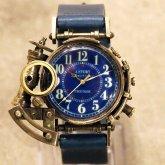 スチームパンク 腕時計 電氣エンドルフィン x A STORY コラボウォッチ 真鍮 ブルーアラビア 蓄光 文字盤