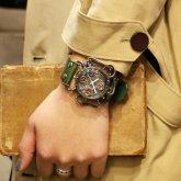 スチームパンク腕時計 クロノマシーン シルバ−925 電池式