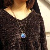 【受注】本物のモルフォ蝶の翅を文字盤に使用した懐中時計型ペンダントウォッチ Real blue morpho butterfly wing Pendant watch